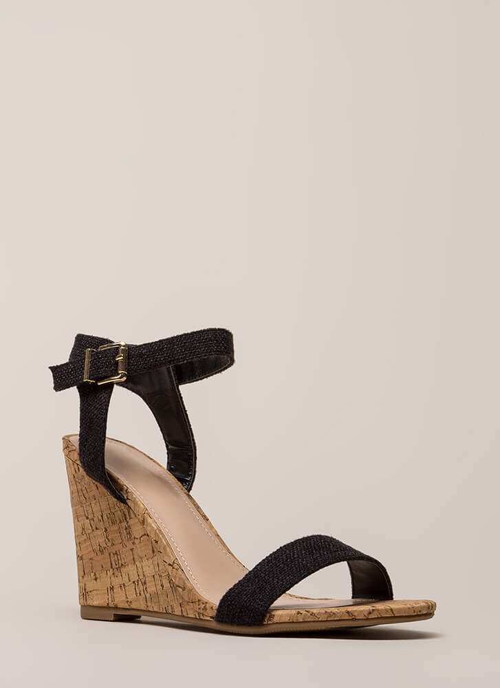 Out And About Tweed And Cork Wedges BLACK