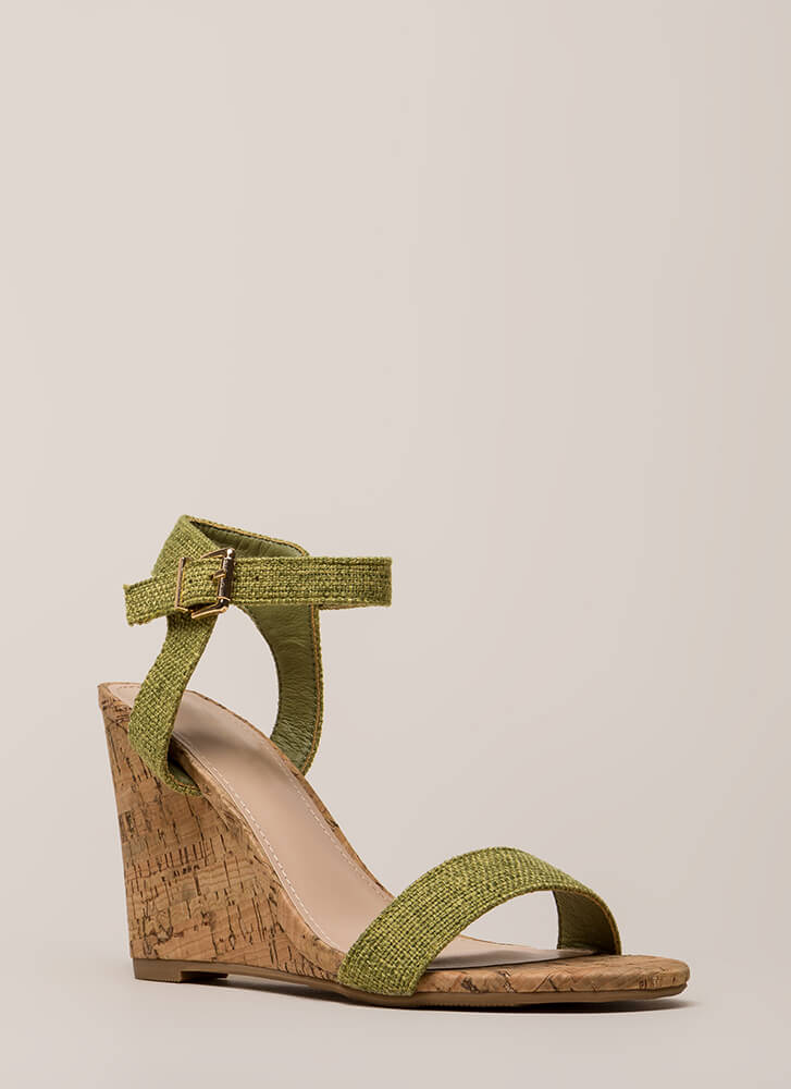 Out And About Tweed And Cork Wedges OLIVE