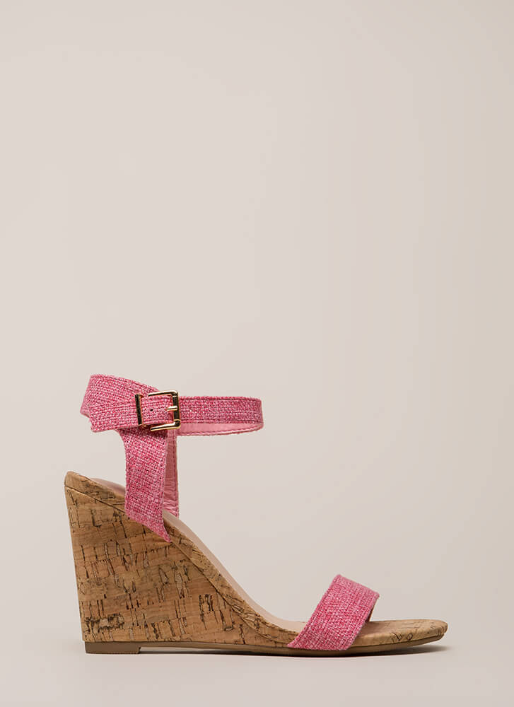Out And About Tweed And Cork Wedges PINK