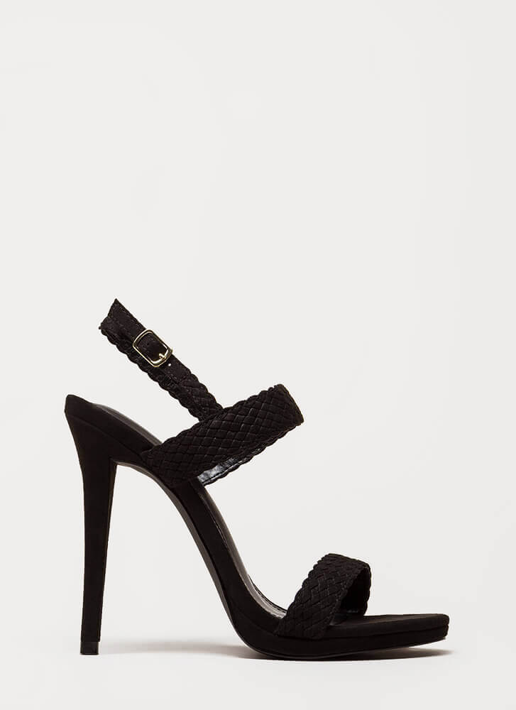 It's Always Date Night Woven Strap Heels BLACK