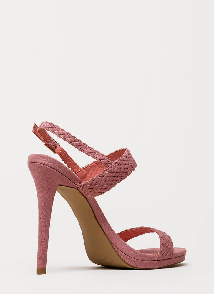 It's Always Date Night Woven Strap Heels MAUVE