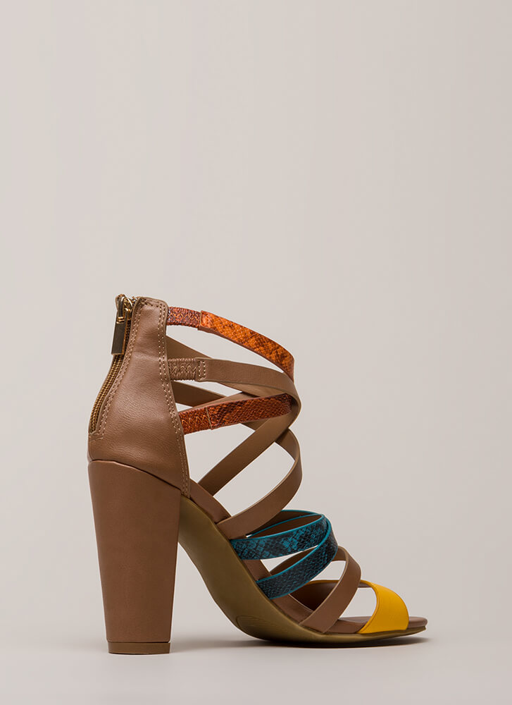 A Little Snake Chunky Strappy Heels CHESTNUT
