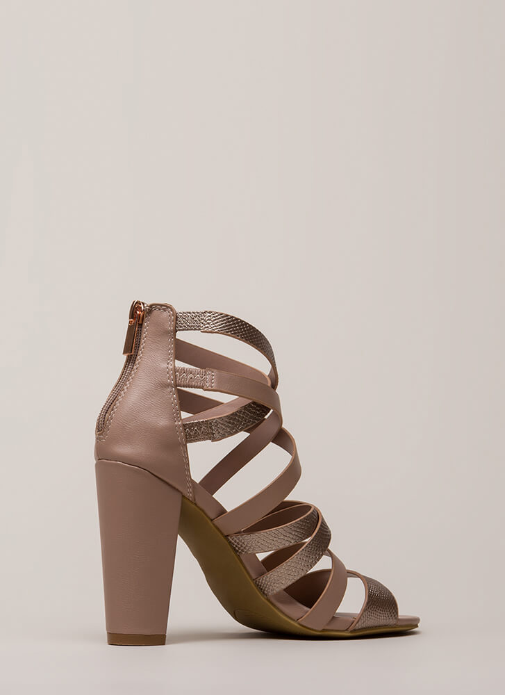 A Little Snake Chunky Strappy Heels DARKMAUVE
