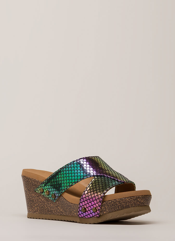 Outtie Holographic Fishscale Mule Wedges MERMAID