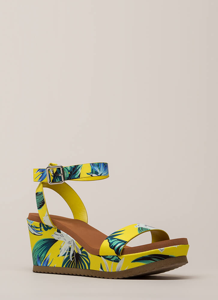 My Vacay Tropical Platform Wedges YELLOW