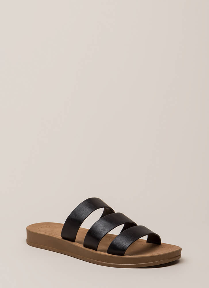 Count To 3 Strappy Faux Leather Sandals BLACK