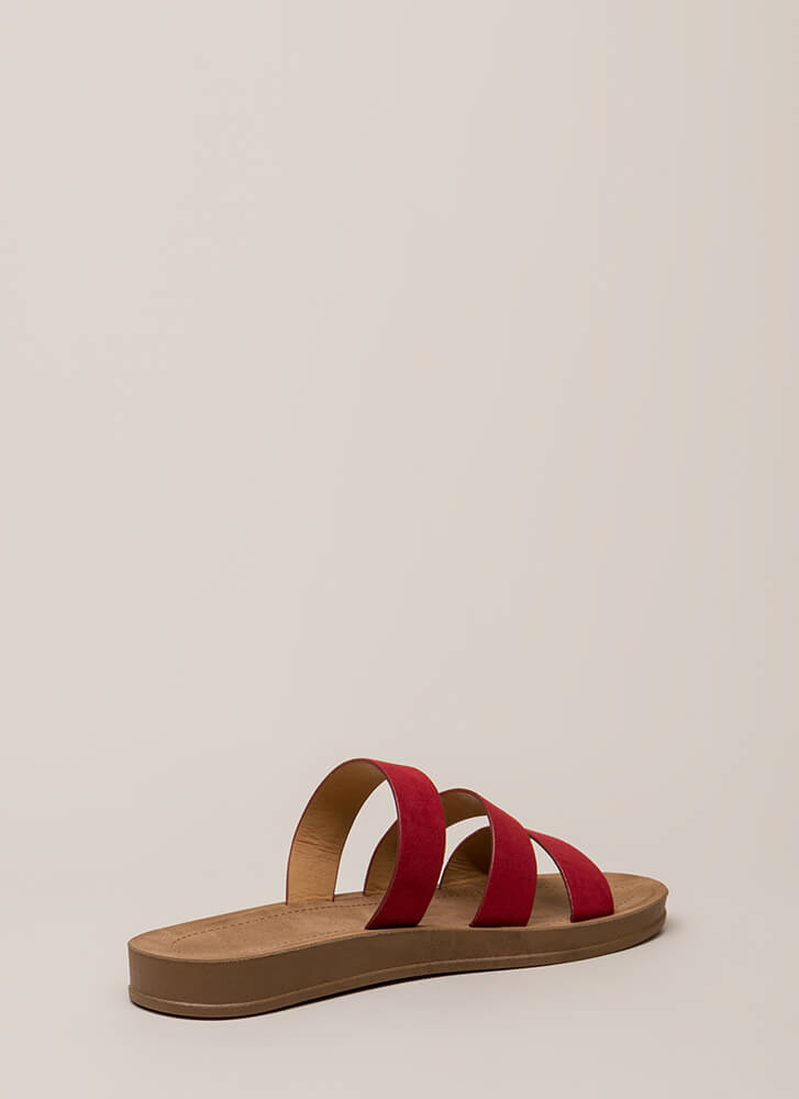 Count To 3 Strappy Faux Suede Sandals RED