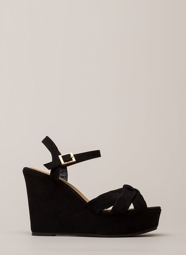 Knotty Girl Faux Suede Platform Wedges BLACK