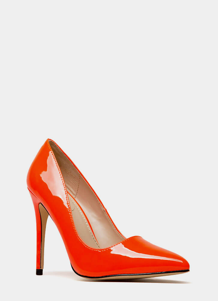 Gloss Lady Pointy Faux Patent Pumps NEONORANGE