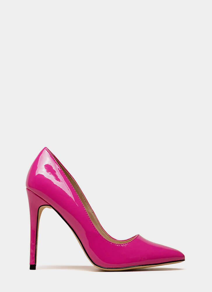 Gloss Lady Pointy Faux Patent Pumps NEONPINK