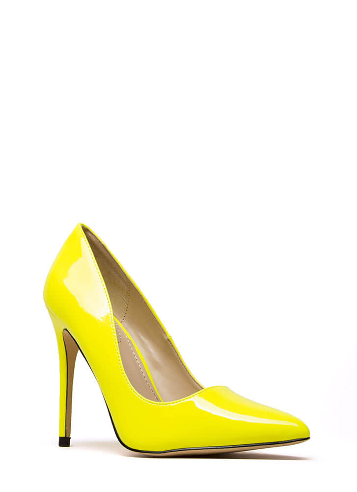 Gloss Lady Pointy Faux Patent Pumps NEONYELLOW