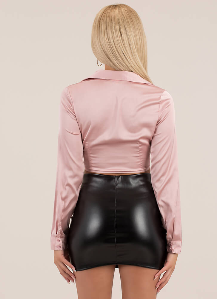 Hey Shorty Faux Leather Micro Miniskirt BLACK
