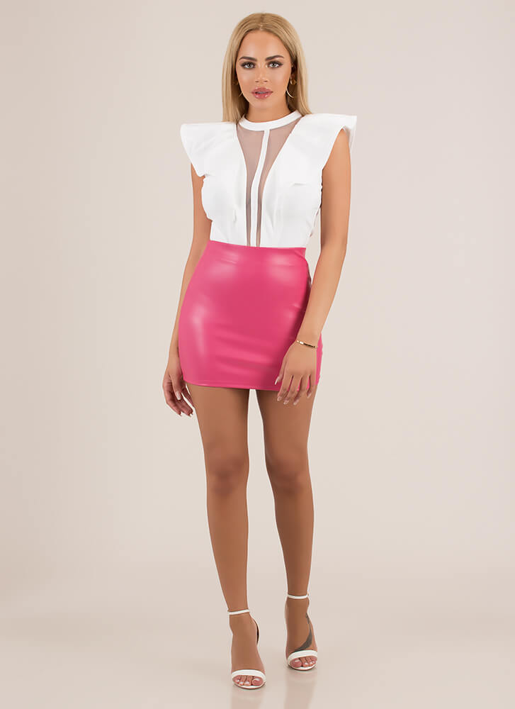 Hey Shorty Faux Leather Micro Miniskirt PINK