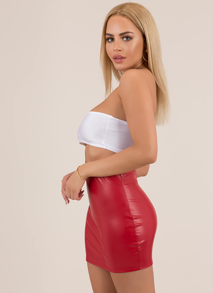 Hey Shorty Faux Leather Micro Miniskirt RED