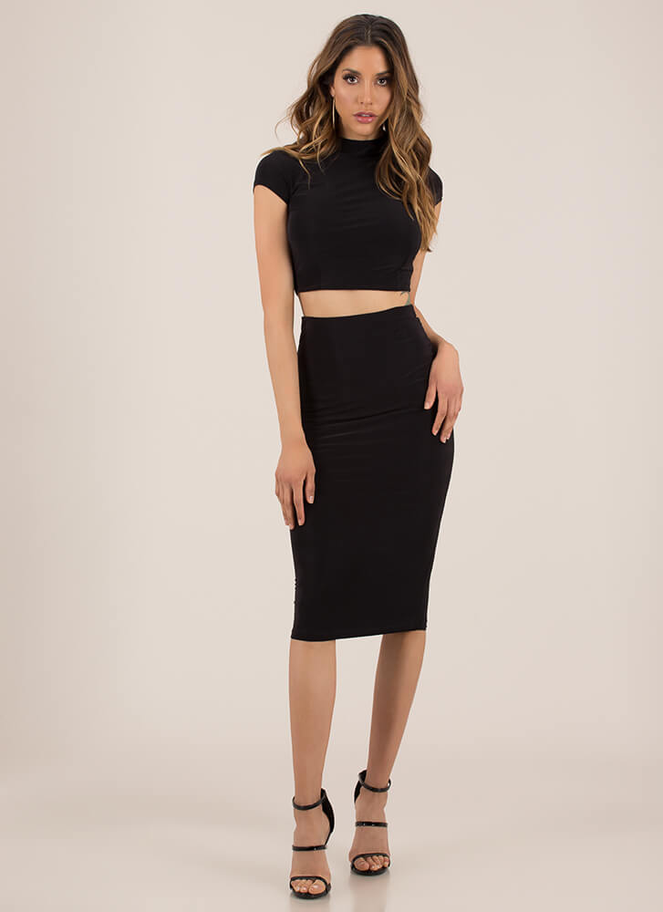 Solid Recommendation Top And Skirt Set BLACK