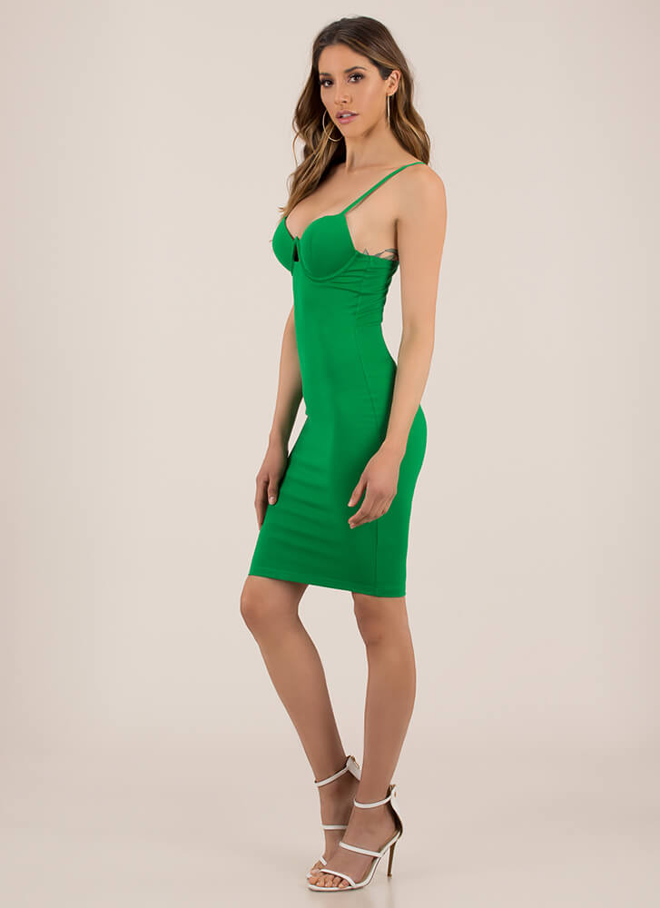 You're So Busted Underwire Midi Dress GREEN (You Saved $31)