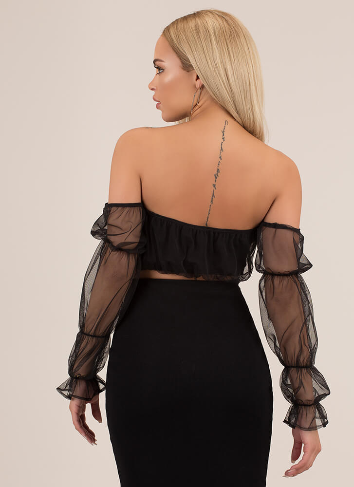 So Enamored Sheer Puffy Sleeve Crop Top BLACK