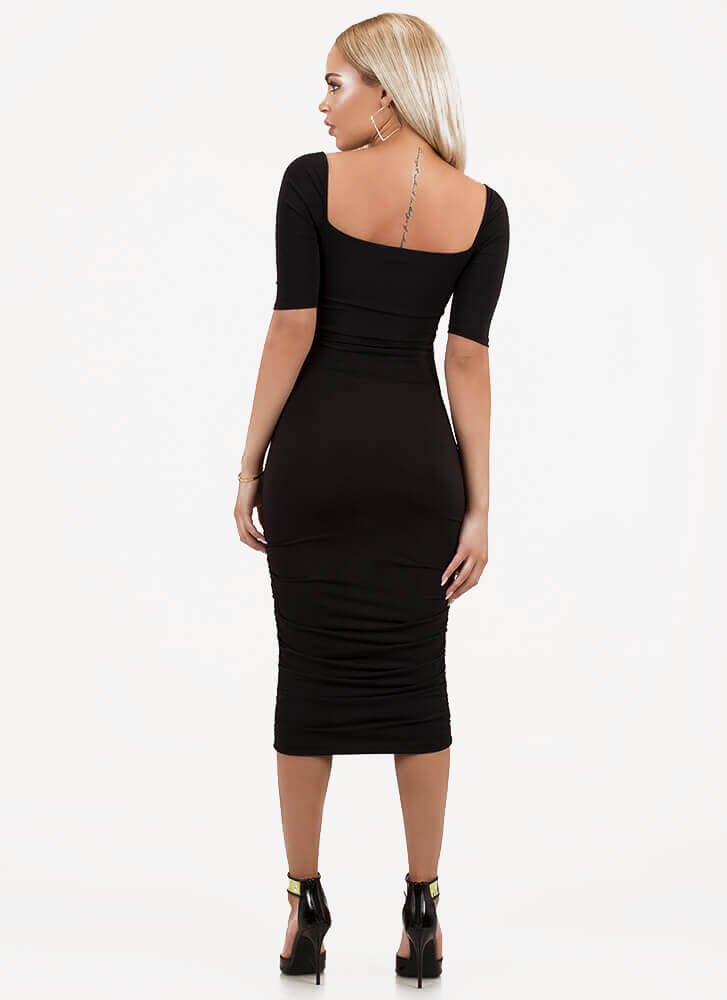 Bust It Out Ruched Cut-Out Dress BLACK