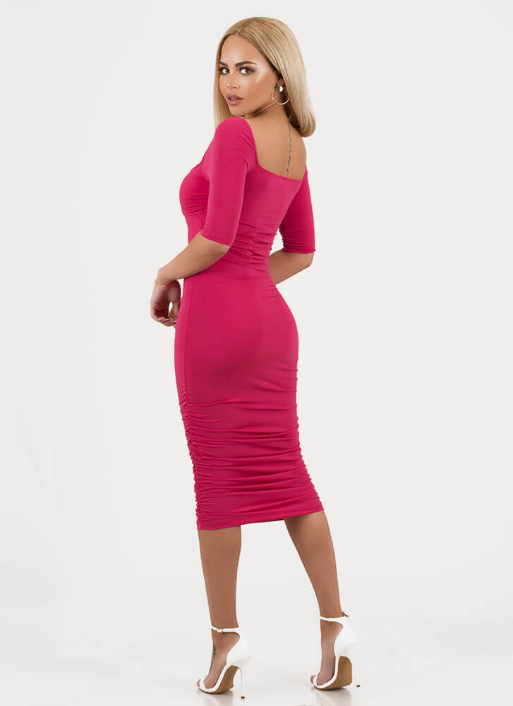 Bust It Out Ruched Cut-Out Dress FUCHSIA