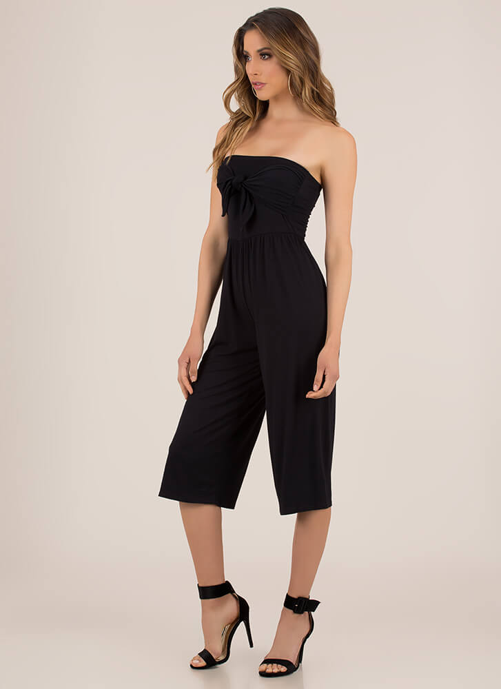 Knot Only Strapless Cropped Jumpsuit BLACK
