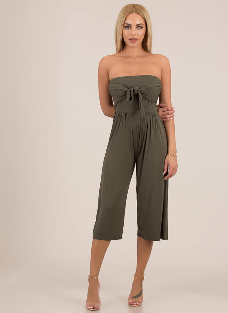 Knot Only Strapless Cropped Jumpsuit OLIVE