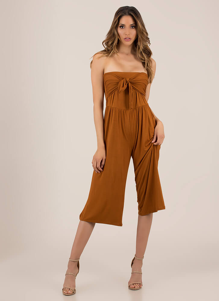 Knot Only Strapless Cropped Jumpsuit TERRACOTTA