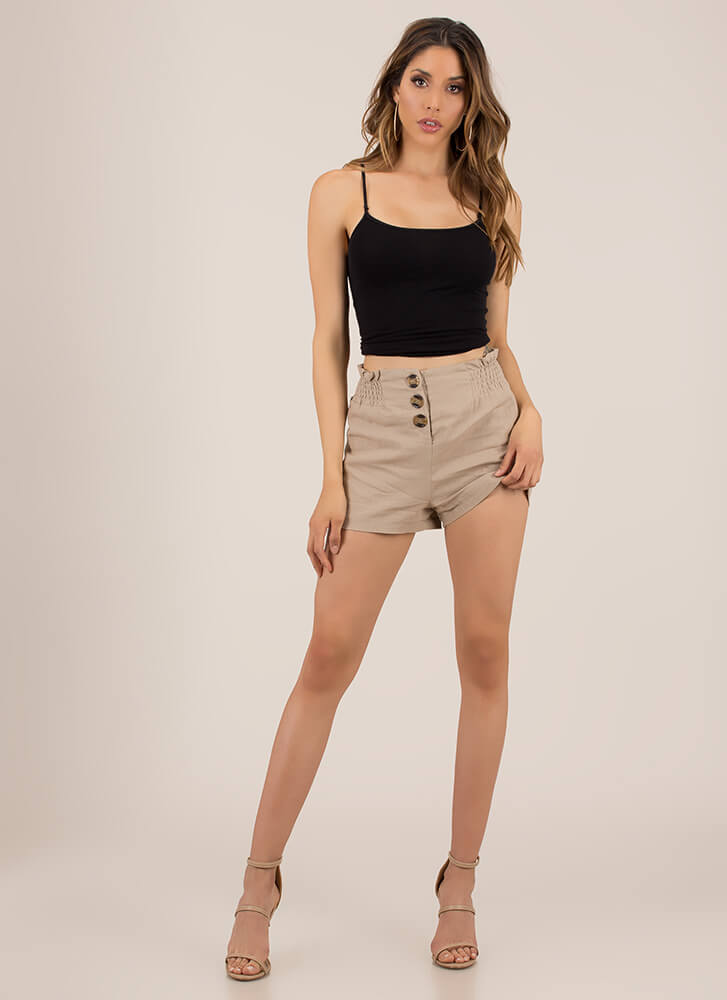 Yes Frills Ruffled Buttoned Shorts TAUPE