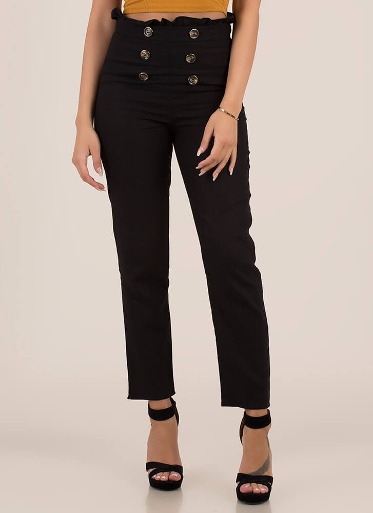 Yes Frills Ruffled Straight-Leg Trousers BLACK