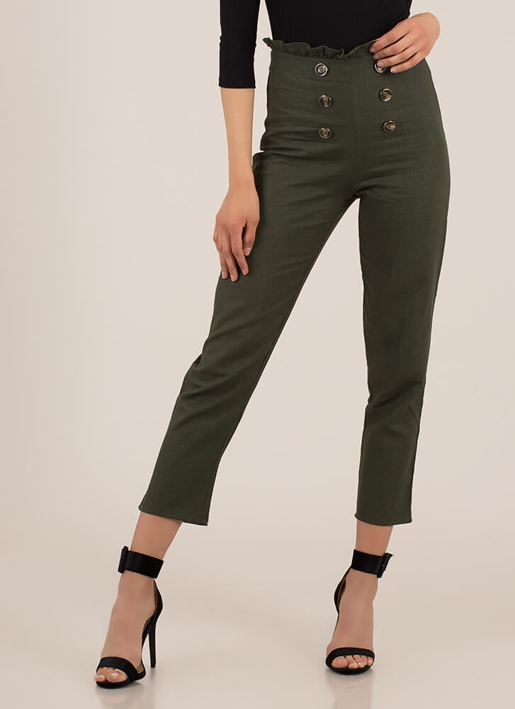 Yes Frills Ruffled Straight-Leg Trousers OLIVE