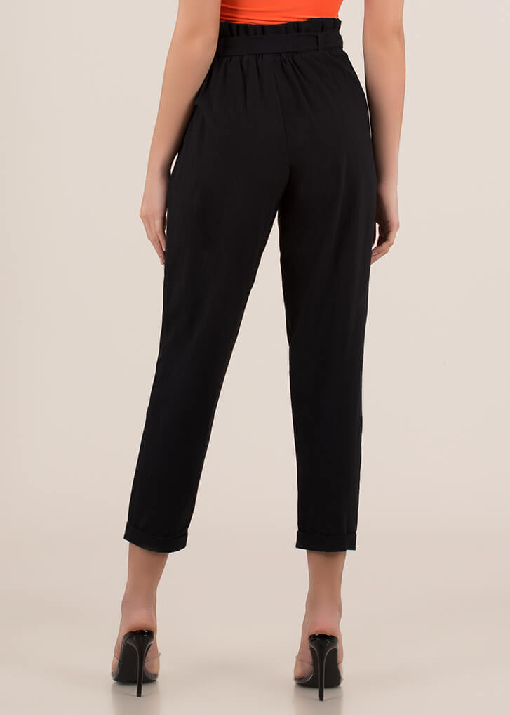 Cute Accent Tied Paper-Bag Trousers BLACK