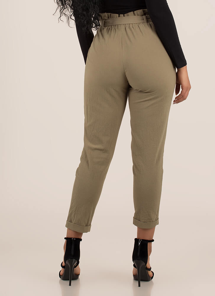 Cute Accent Tied Paper-Bag Trousers OLIVE