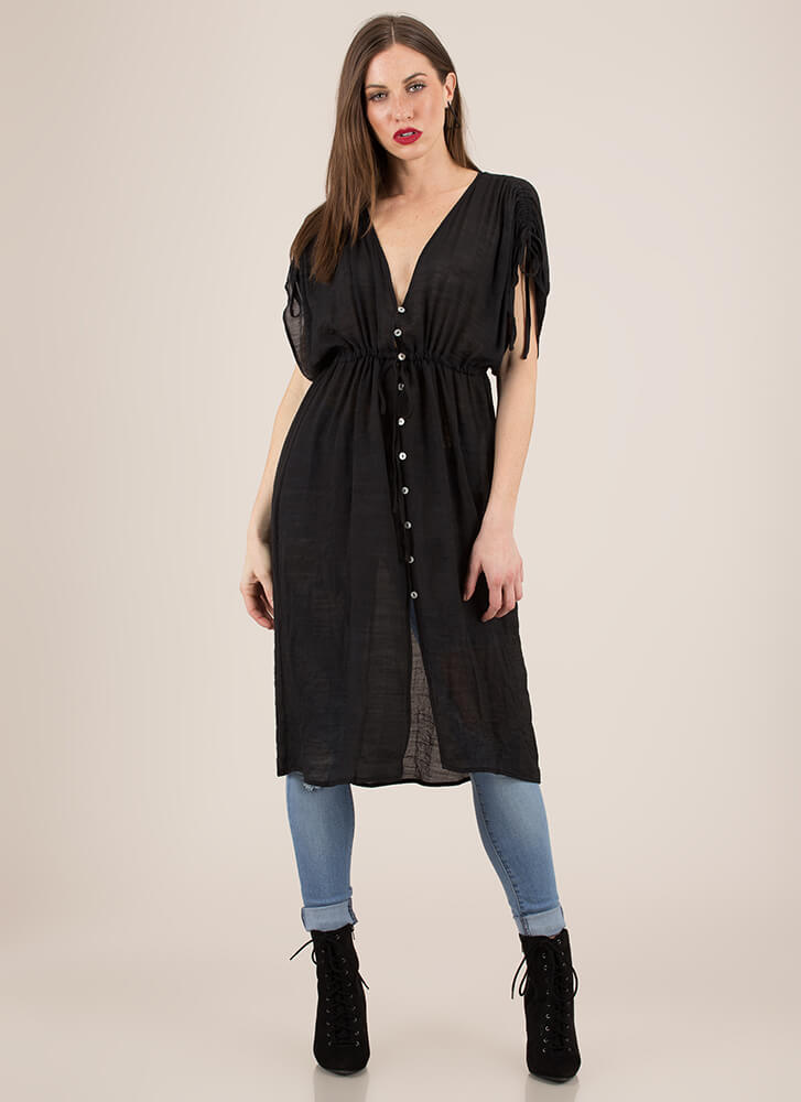 Light And Airy Buttoned Drawstring Top BLACK