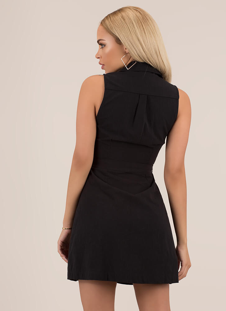 Casual Friend Tied Button-Up Minidress BLACK