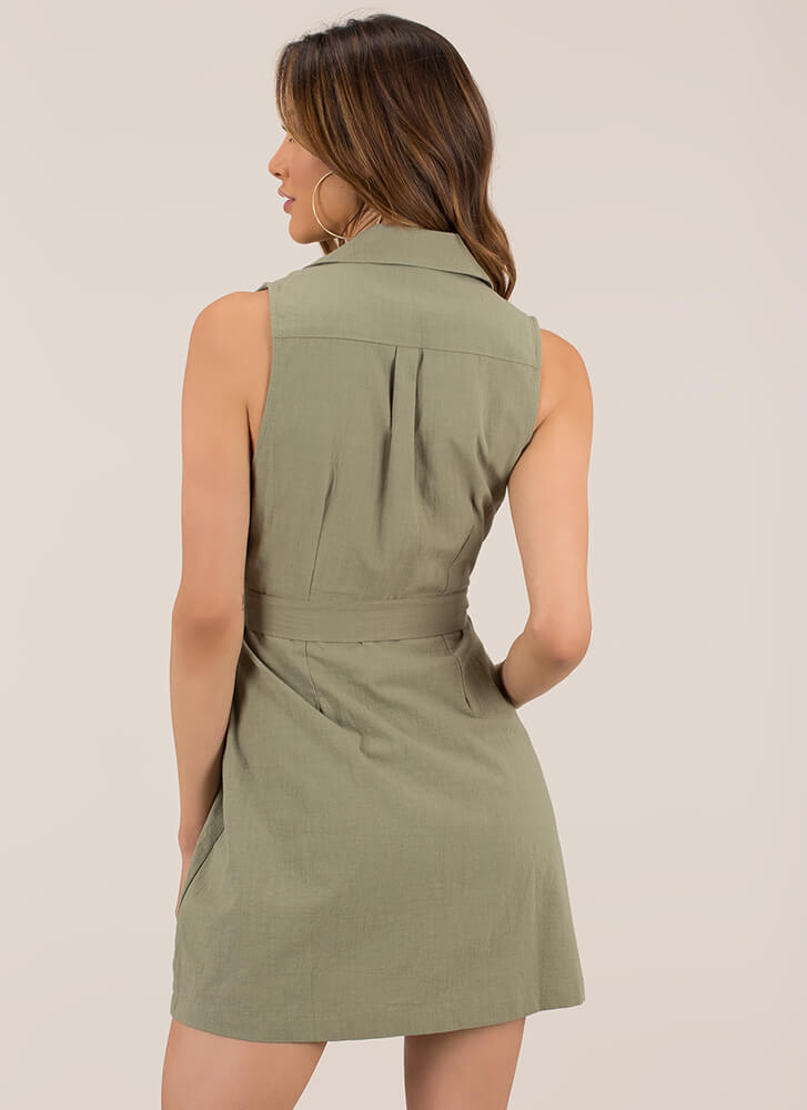 Casual Friend Tied Button-Up Minidress OLIVE