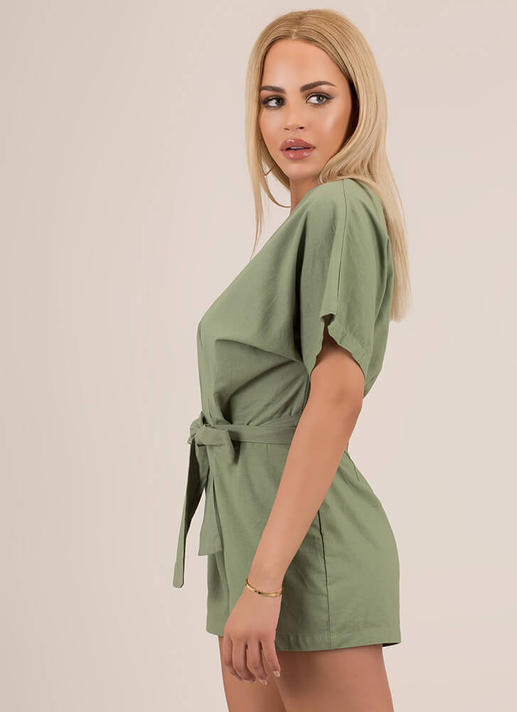It's A Beautiful Day Tied Cotton Romper OLIVE