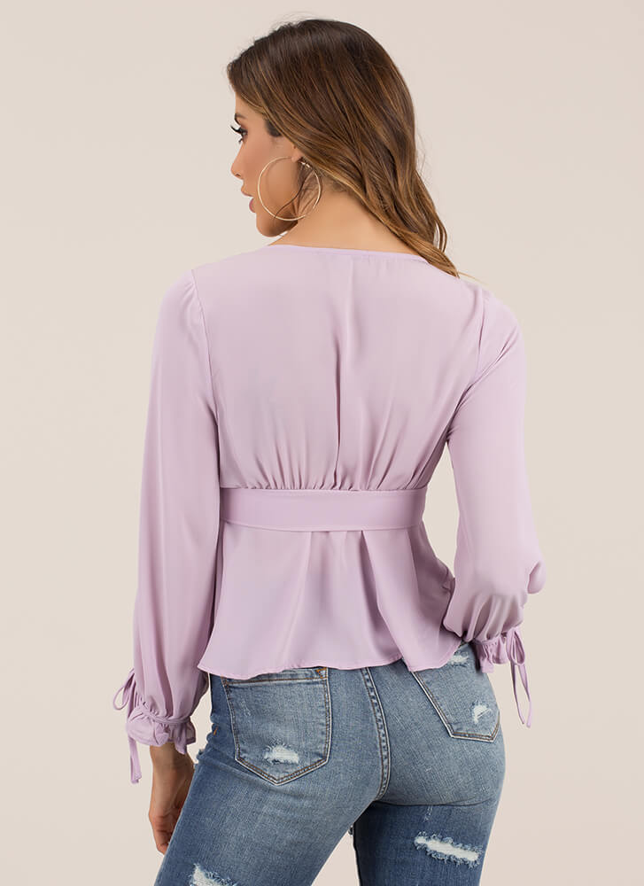 A Little Girly Tied Puffy Sleeve Top LAVENDER