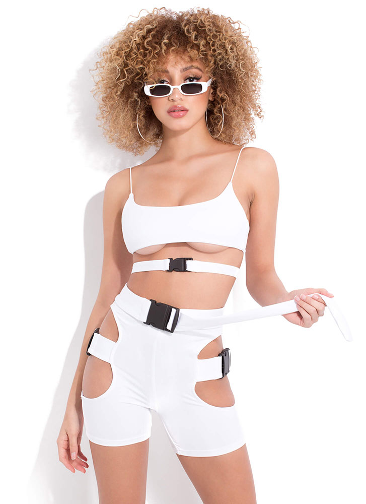 Fashion Assassin Buckled Cut-Out Romper WHITE