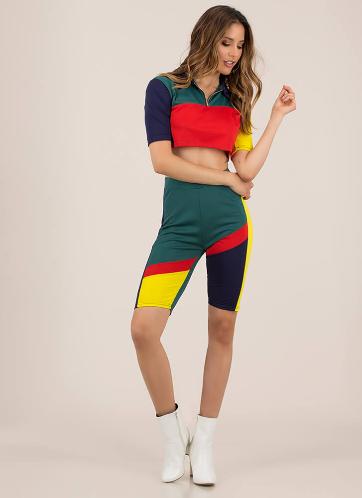 Colorblock Cutie Top And Shorts Set GREEN