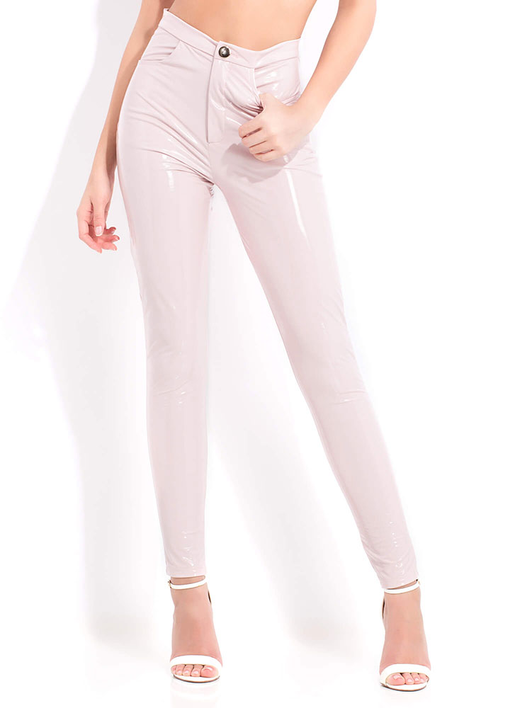 Gloss Lady Faux Patent Skinny Pants PINK