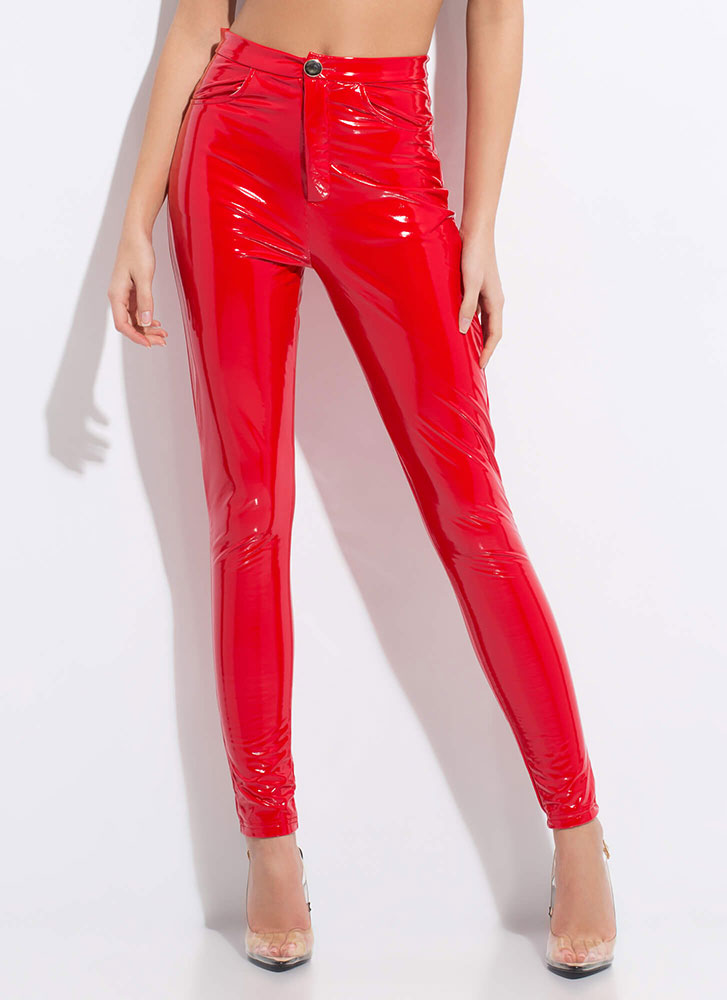 Gloss Lady Faux Patent Skinny Pants RED