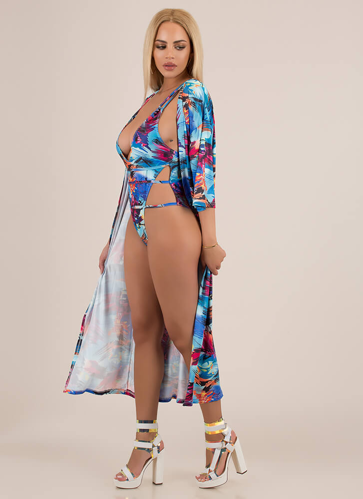Hot Damn Strappy Swimsuit And Duster Set LTBLUE (Final Sale)