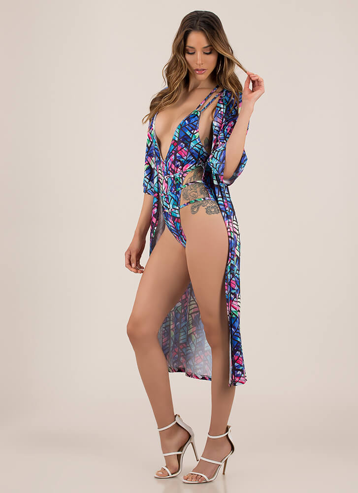 Hot Damn Strappy Swimsuit And Duster Set ROYAL (Final Sale)