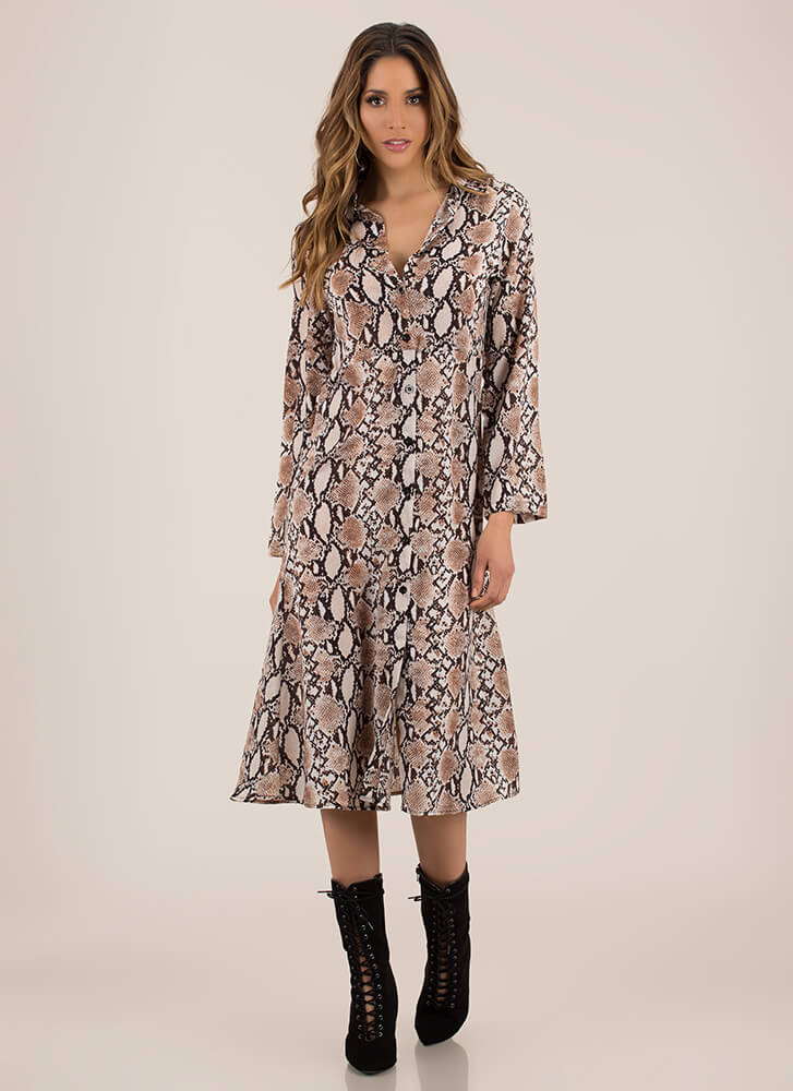 For Goodness Snake Button-Up Shirt Dress BROWNMULTI