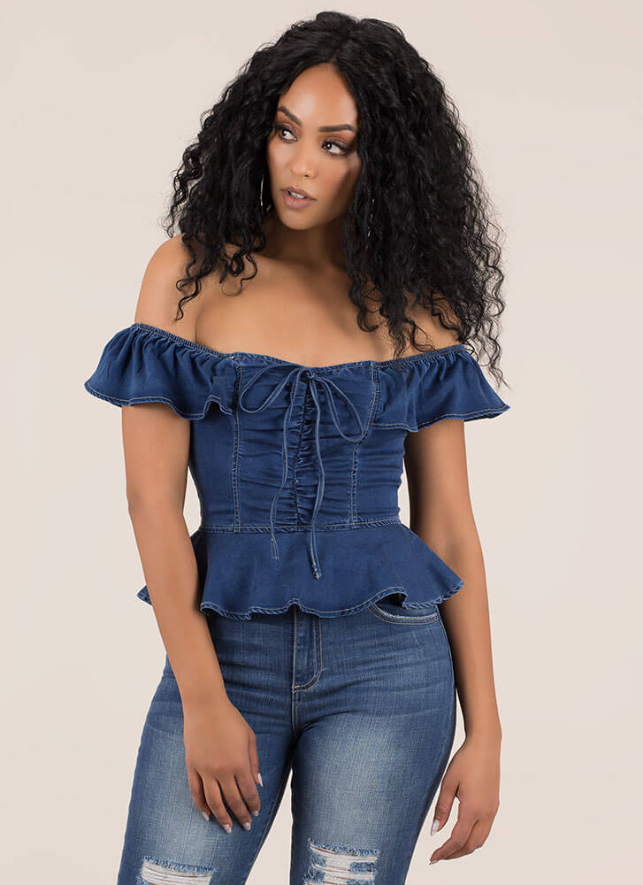 Chambray Chic Off-Shoulder Peplum Top BLUE