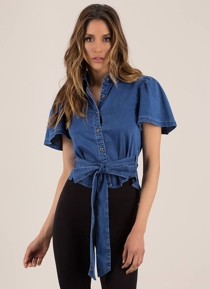 Tied For First Denim Button-Up Top BLUE