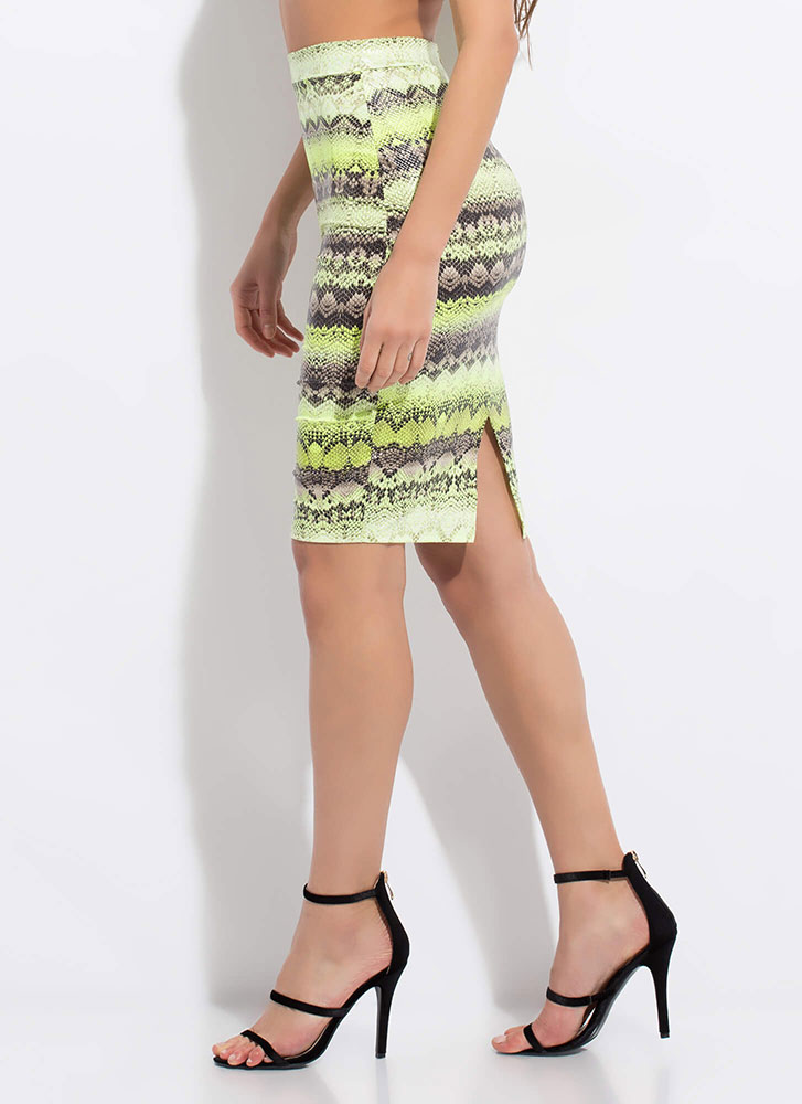 Snake Tale Reptile Print Pencil Skirt GREEN