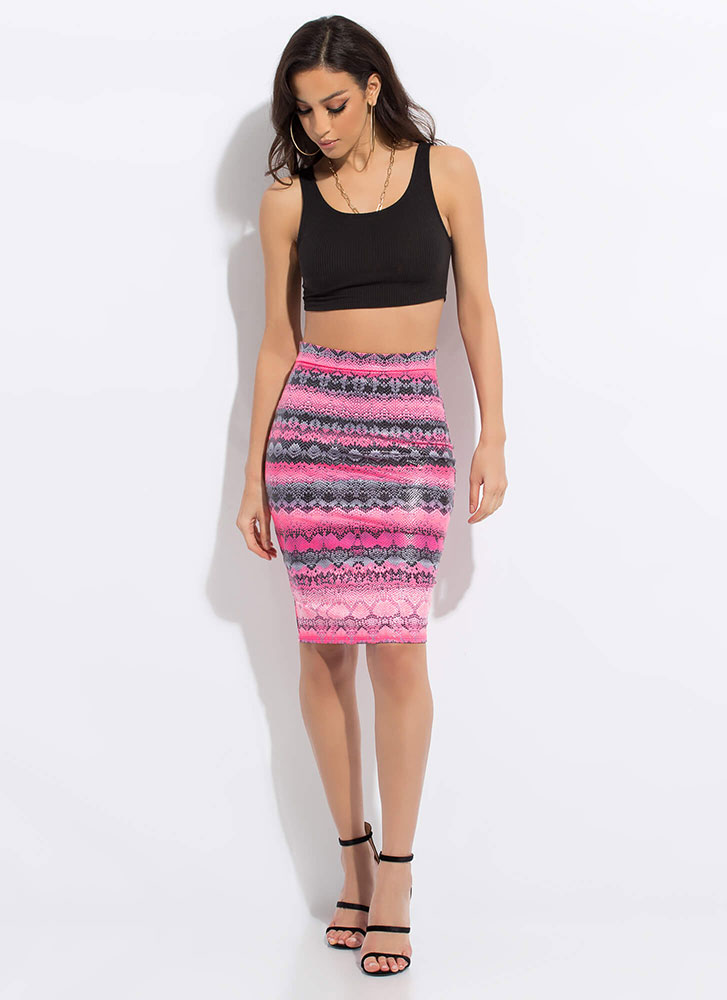 Snake Tale Reptile Print Pencil Skirt PINK