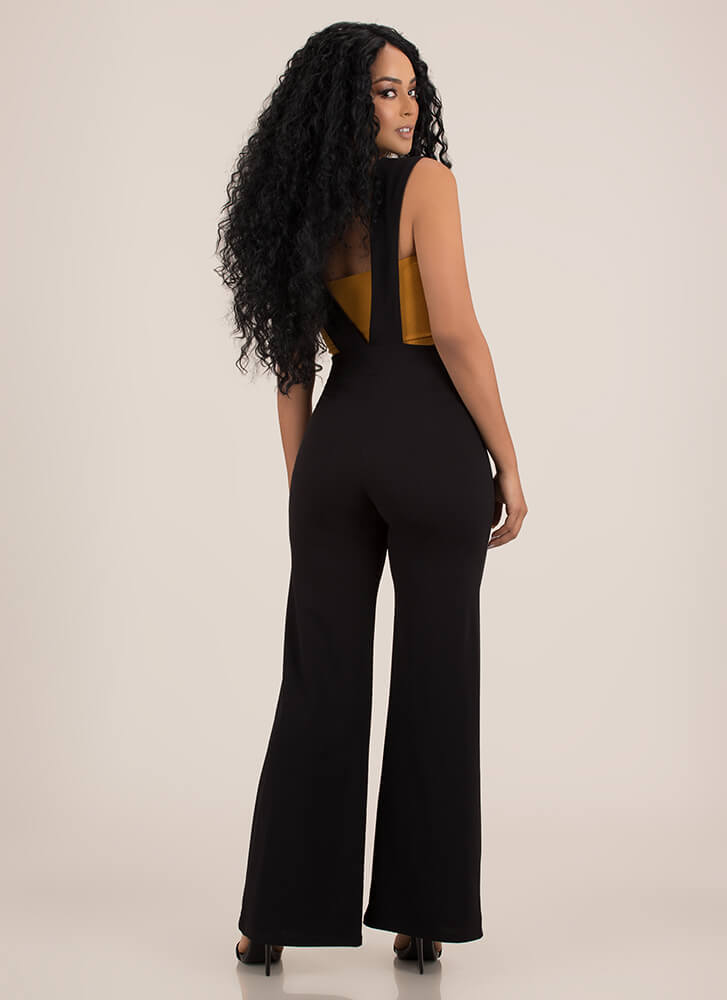 V For Victory Suspendered Palazzo Pants BLACK