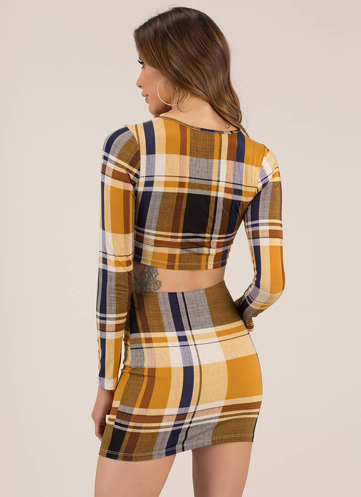 In Plaid We Trust Top And Skirt Set MUSTARD