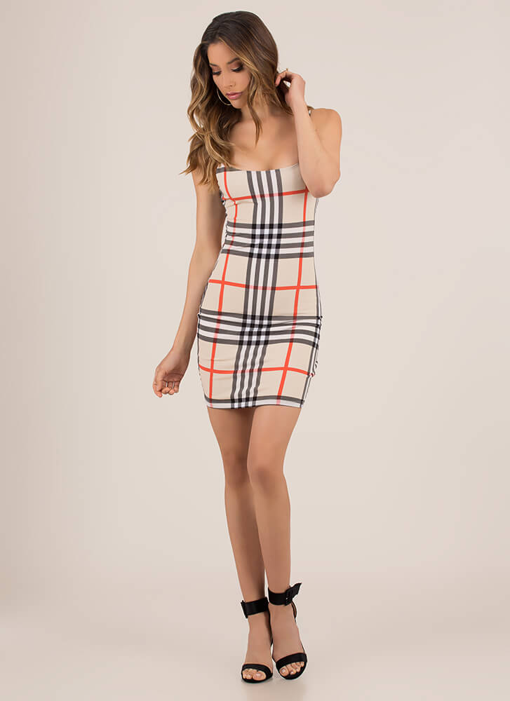 Plaid Girls Get What They Want Dress TAUPE (You Saved $23)